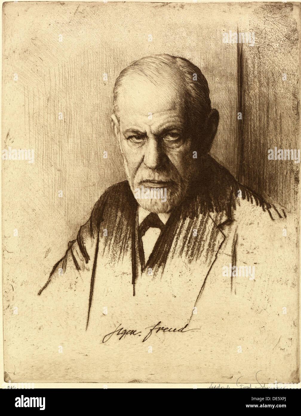Portrait of Sigmund Freud (1856-1939), 1926. Artist: Schmutzer, Ferdinand (1870-1928) Stock Photo