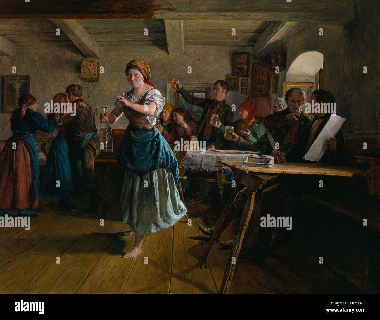 The Opening Dance, 1863. Artist: Waldmüller, Ferdinand Georg (1793-1865) - Stock Image
