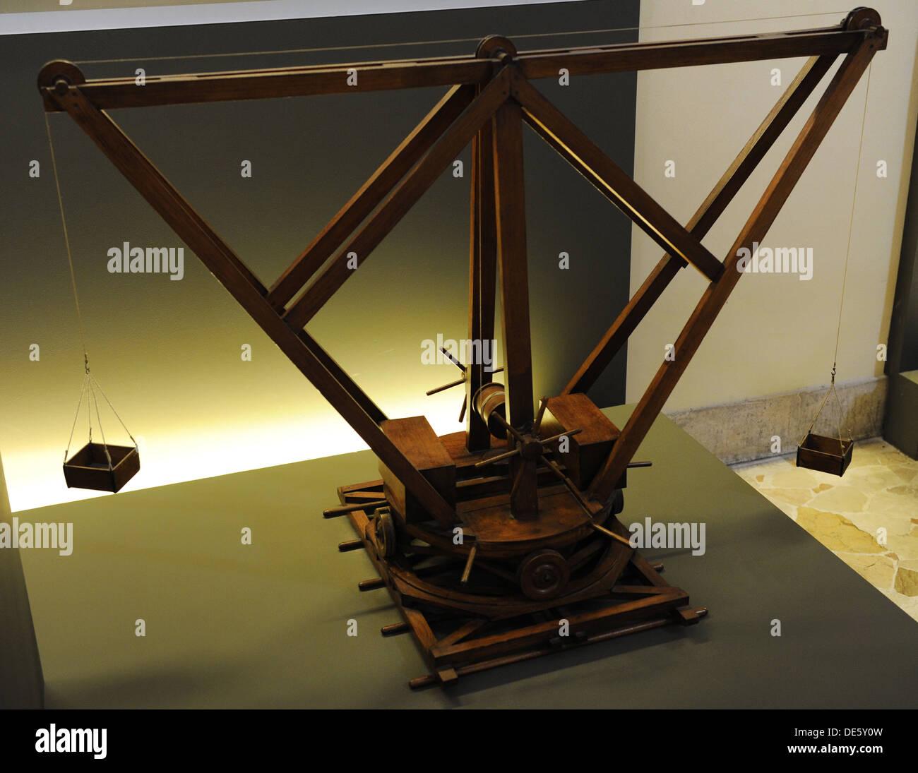 Machine. Crane with central winch. Codex Atlanticus. Model. - Stock Image
