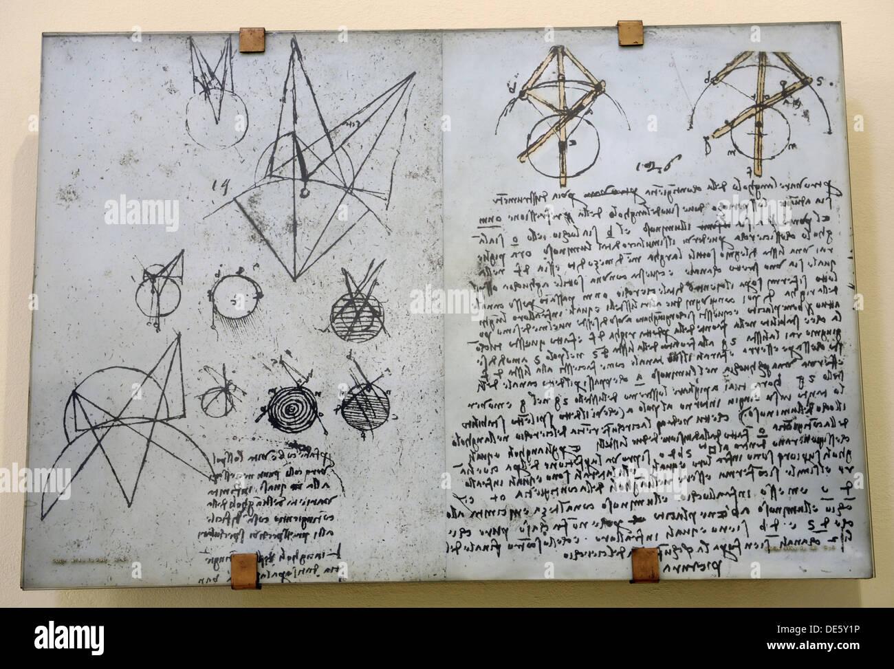 Alhazen's problem from Atlantic Codex (Codex Atlanticus) by Leonardo da Vinci. - Stock Image