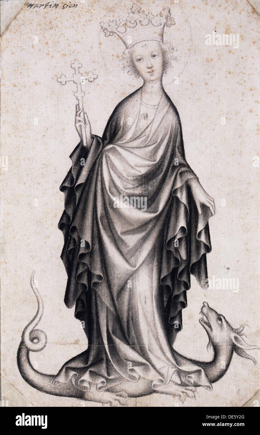 Saint Margaret, c.1410. Artist: Bohemian Master (active 1410-1420) - Stock Image