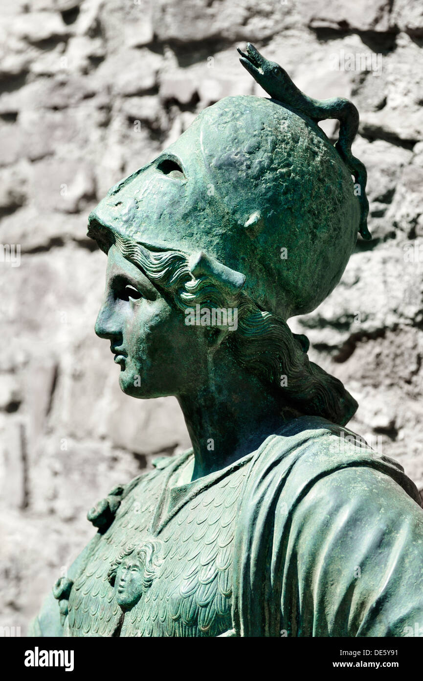 Statue of Minerva, goddess of war. Arezzo, Tuscany Italy. This copy, sited on Via Pellicceria, of 4th C. BC bronze original - Stock Image