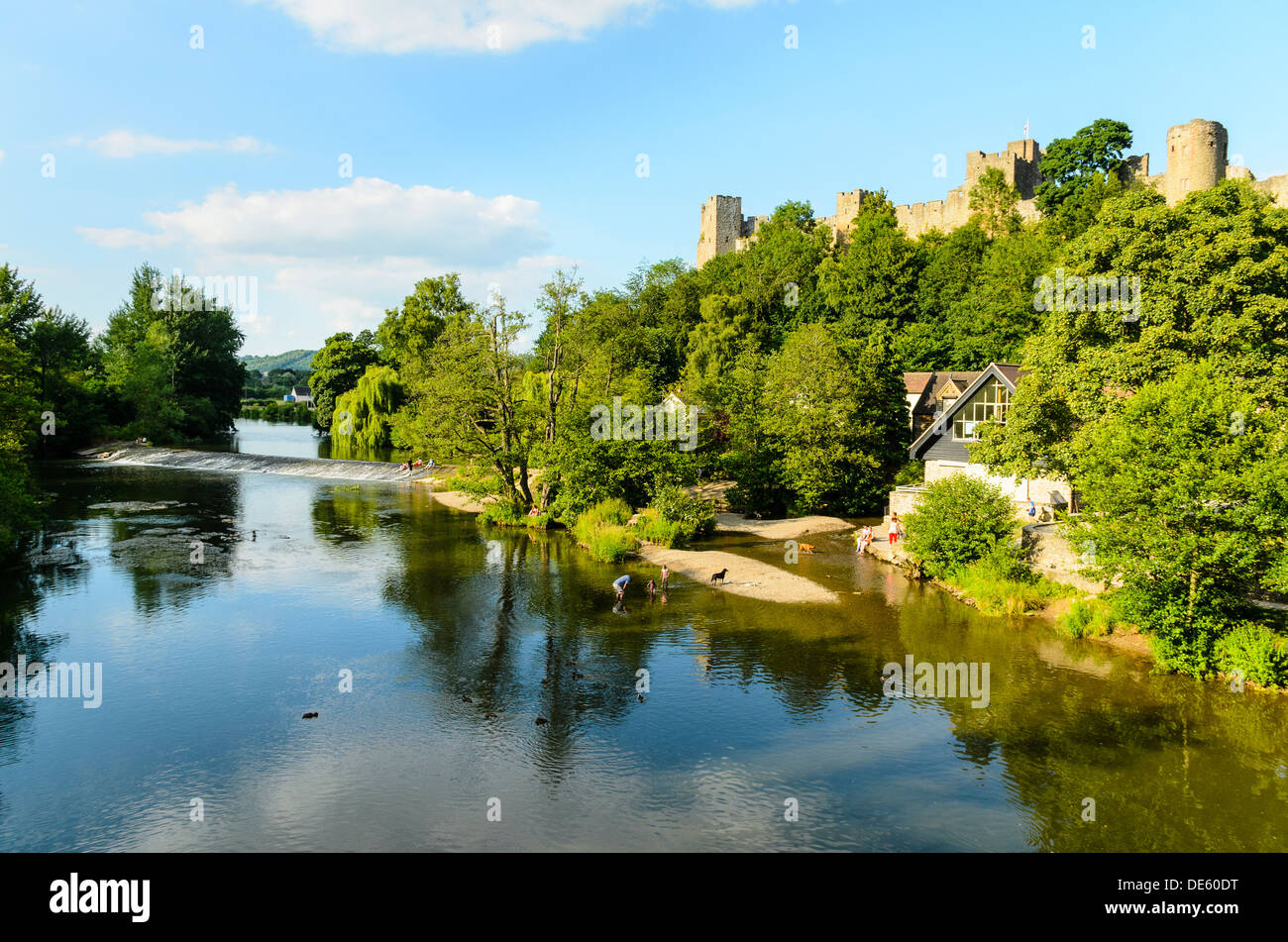 The River Severn and the Castle at Ludlow Shropshire England - Stock Image