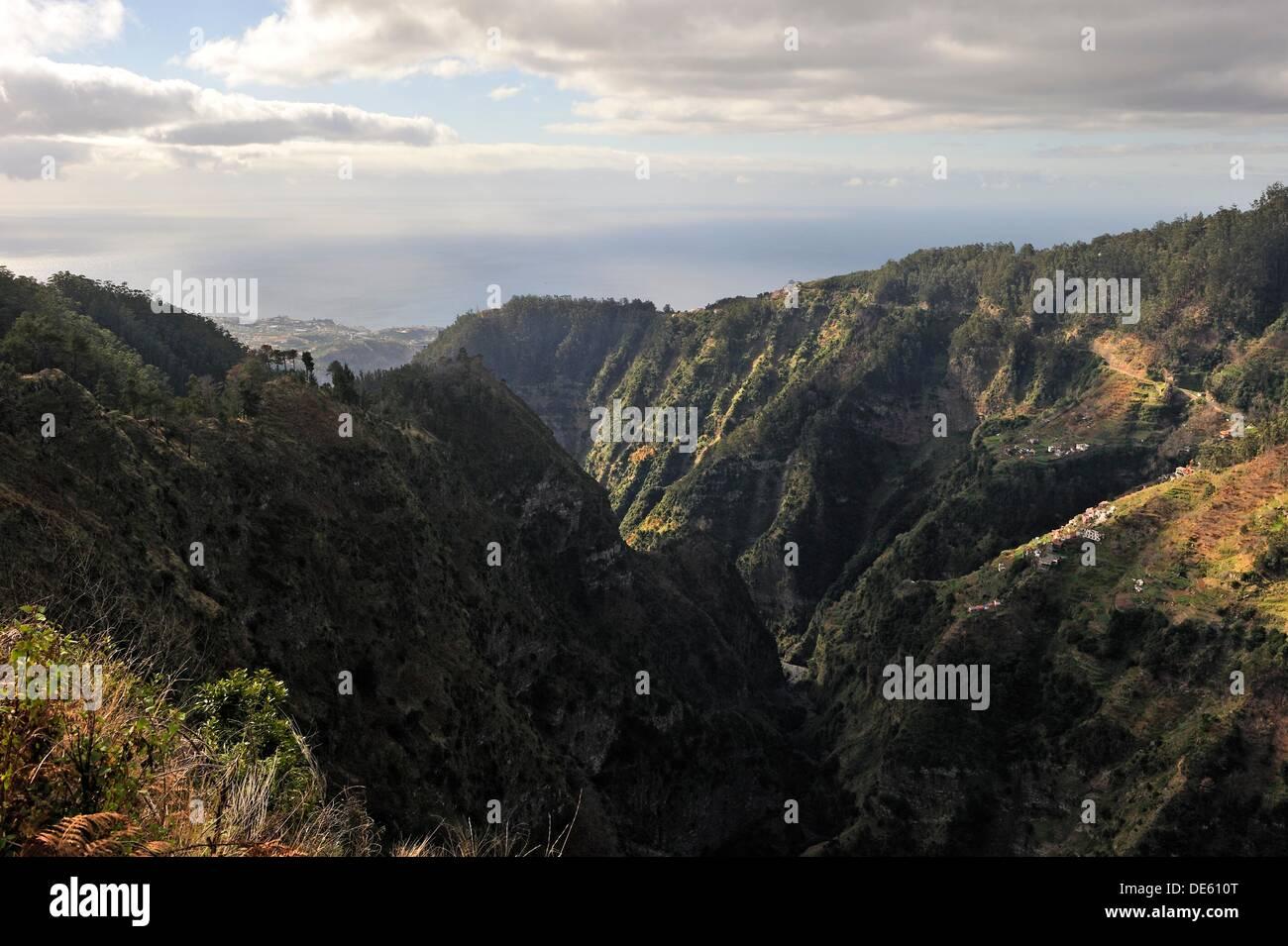 Eira do Serrado site above the village Curral das Freiras Nuns valley, Madeira island, Atlantic Ocean, Portugal - Stock Image