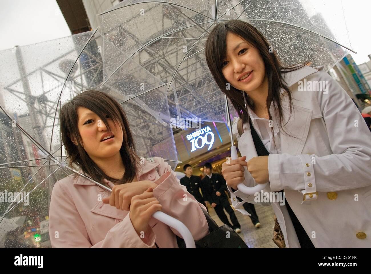 young women on the way to famous shopping center 109 in Shibuya district,Tokyo,Japan - Stock Image