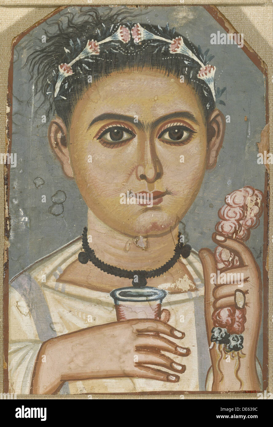 Boy with a Floral Garland in His Hair, ca 200-230. Artist: Fayum mummy portraits - Stock Image