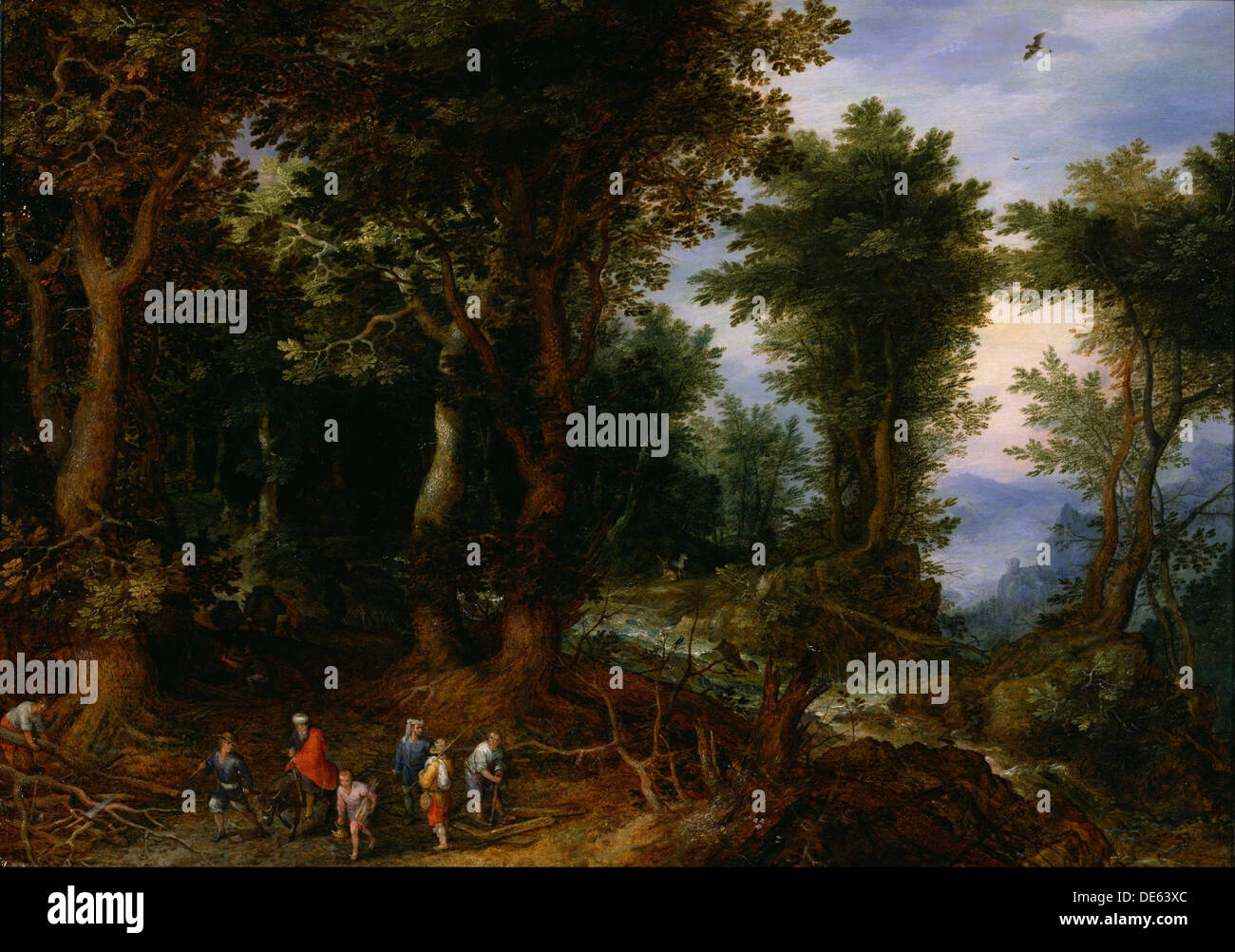 Wooded Landscape with Abraham and Isaac, 1599. Artist: Brueghel, Jan, the Elder (1568-1625) - Stock Image