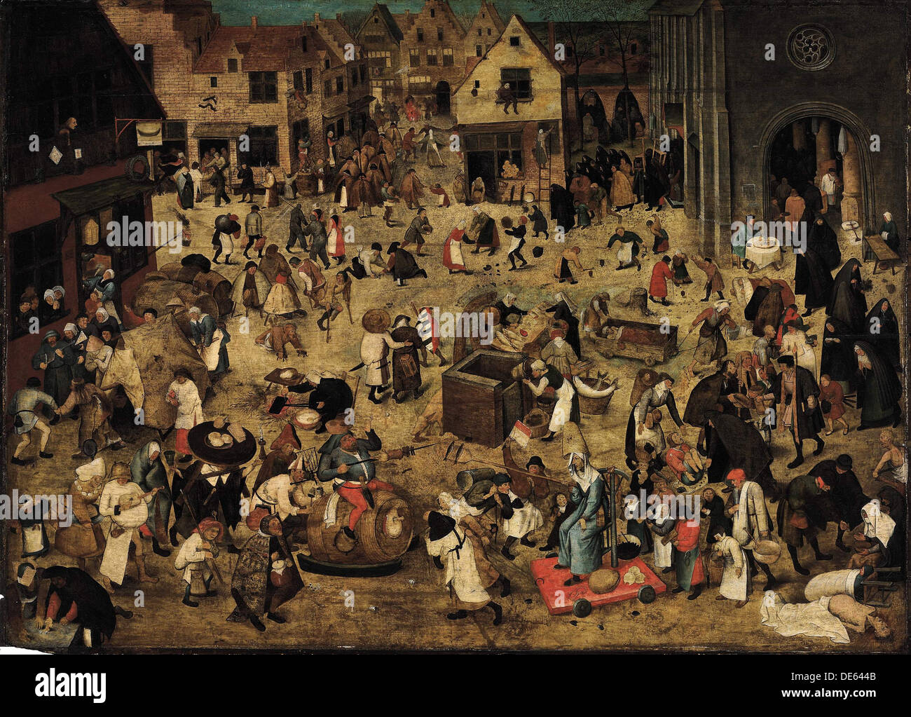The Combat between Carnival and Lent, c. 1560. Artist: Brueghel, Pieter, the Younger (1564-1638) - Stock Image