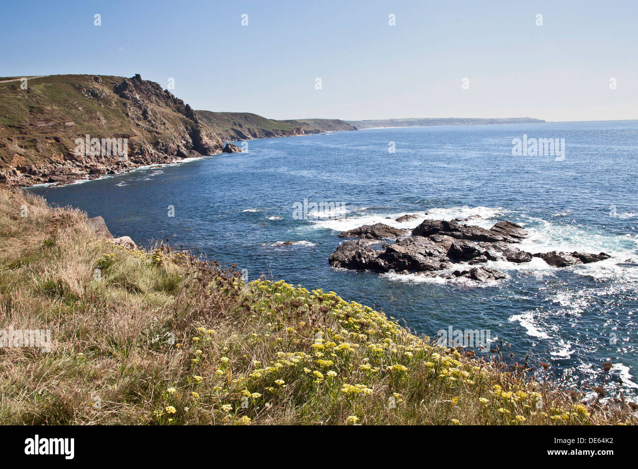 The magnificent rugged coastline at Cape Cornwall England - Stock Image