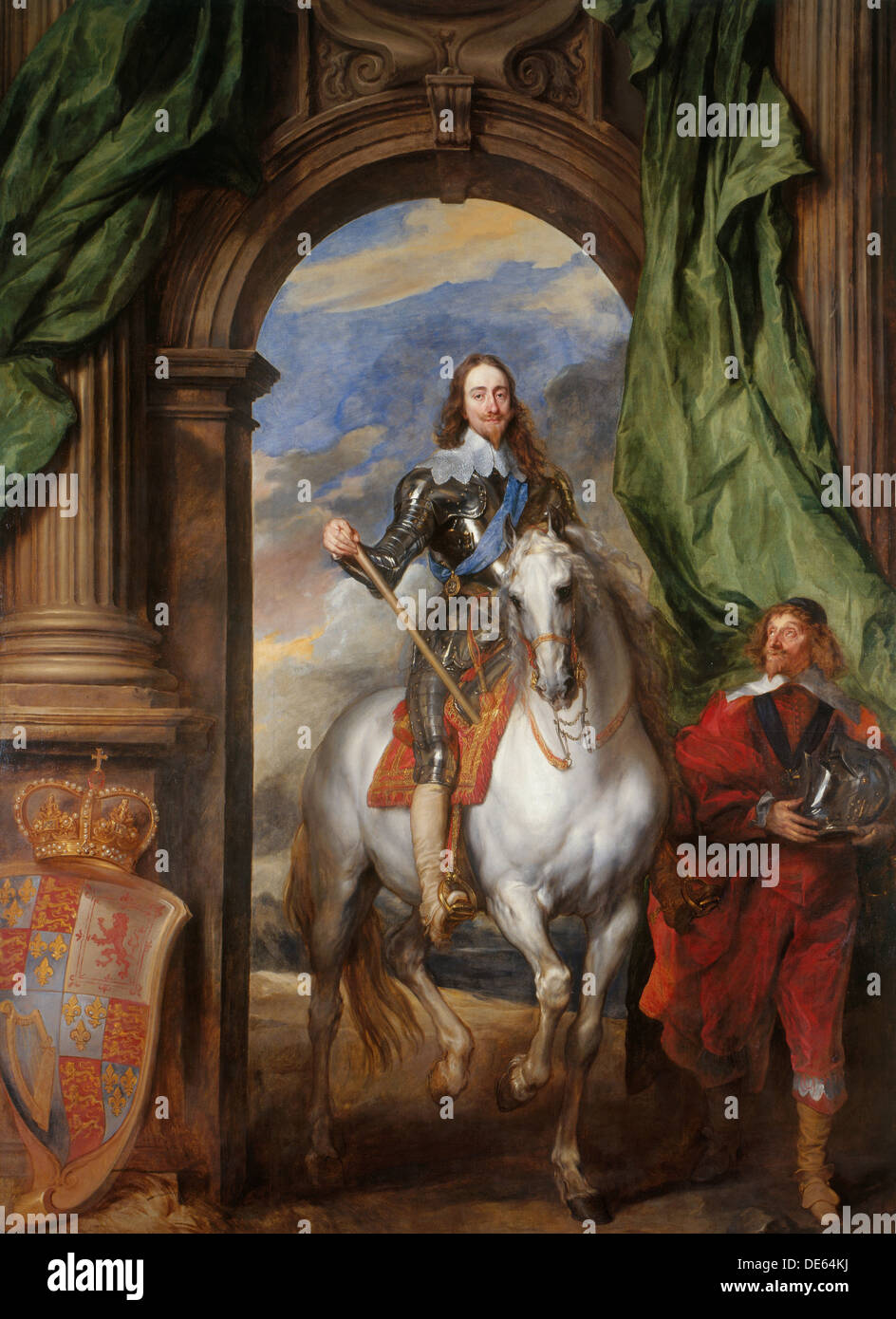 Equestrian portrait of Charles I, King of England  (1600-1649) with M. de St Antoine, 1633. Artist: Dyck, Sir Anthonis, van (159 - Stock Image
