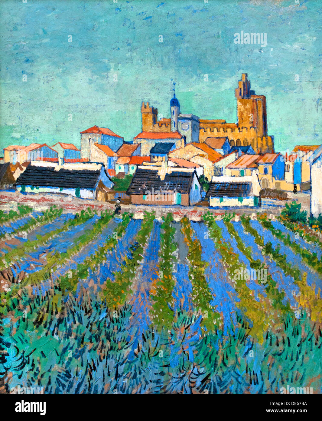 Vieuw of Saintes Maries de la Mer !888 Vincent van Gogh 1853 - 1890  Dutch Netherlands - Stock Image