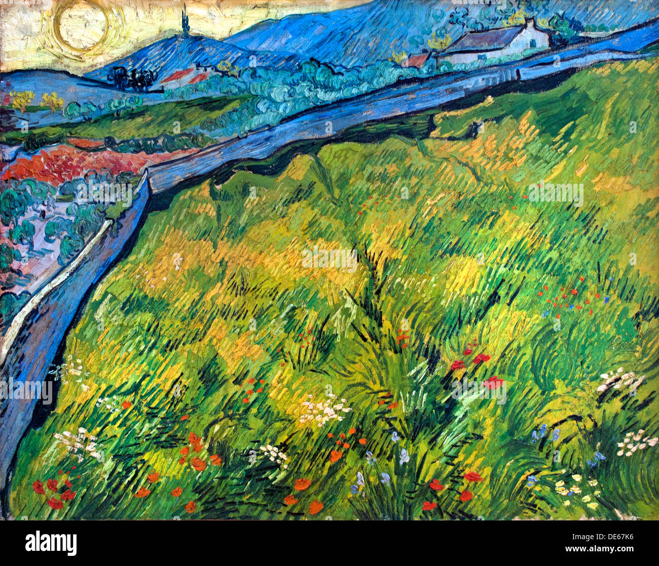 Enclosed wheat field fieldwith rising sun  Saint Remy 1889 Vincent van Gogh 1853 - 1890  Dutch Netherlands - Stock Image