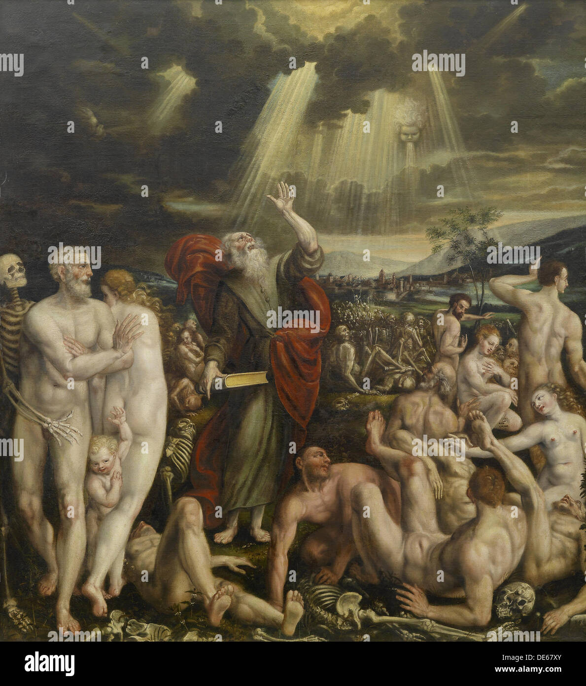 The Vision of the Prophet Ezekiel. Artist: Massys, Quentin (1466–1530) - Stock Image