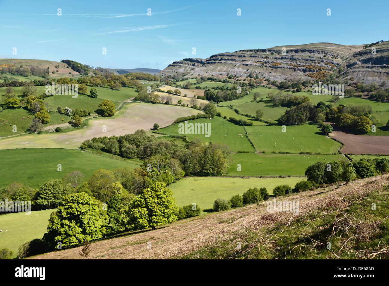 Eglwyseg Mountain from Castell Dinas Brân, Llangollen, Denbighshire, Wales Stock Photo