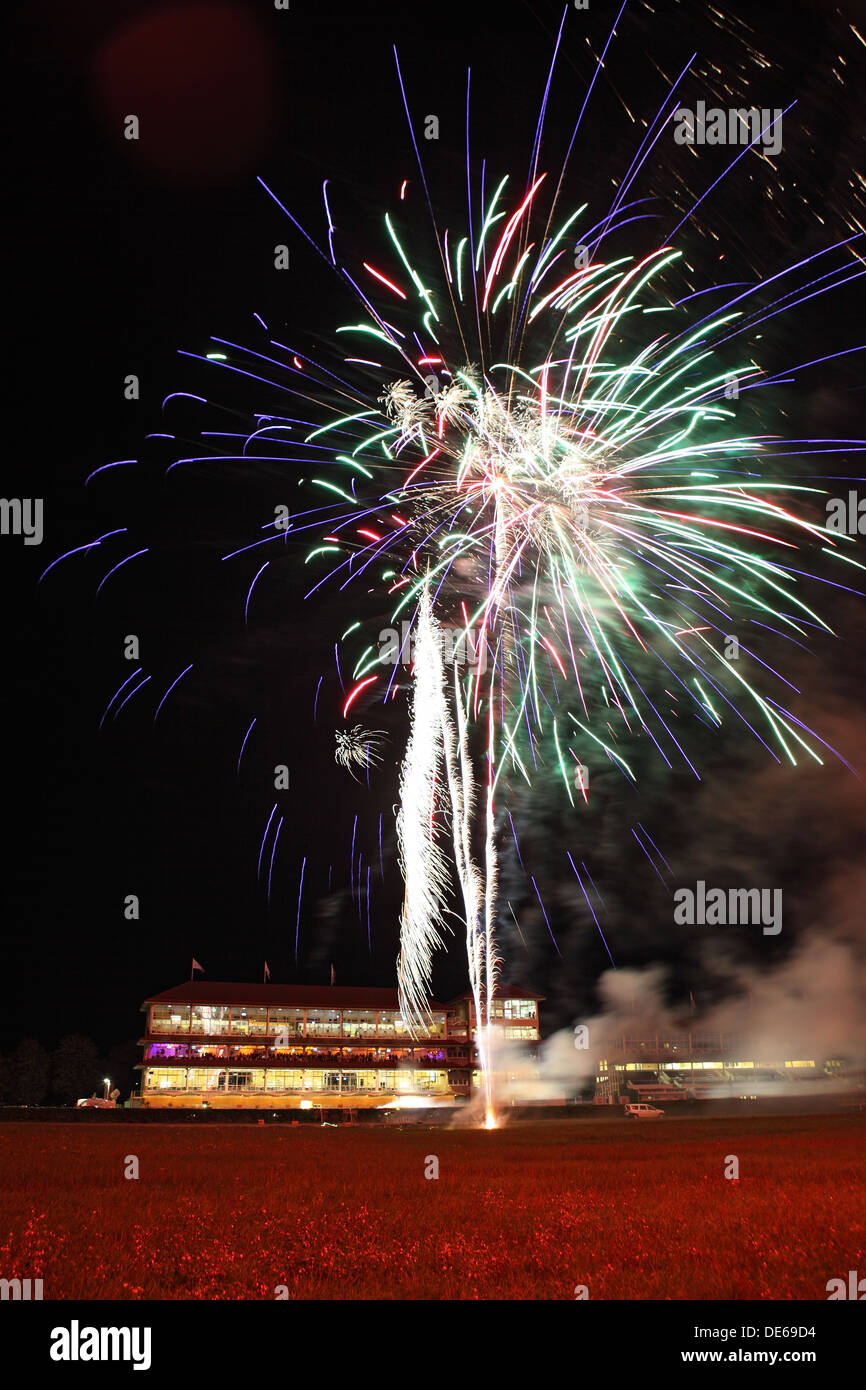 Iffezheim, Germany, fireworks before the grandstand the racecourse Stock Photo