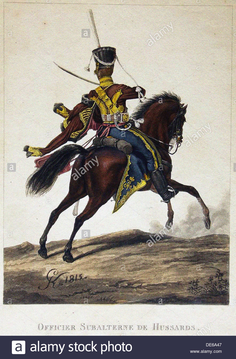 Uniform For Chief Officer Of The Life-guard Achtyrsky Hussar Regiment, 1818. Artist: Anonymous - Stock Image