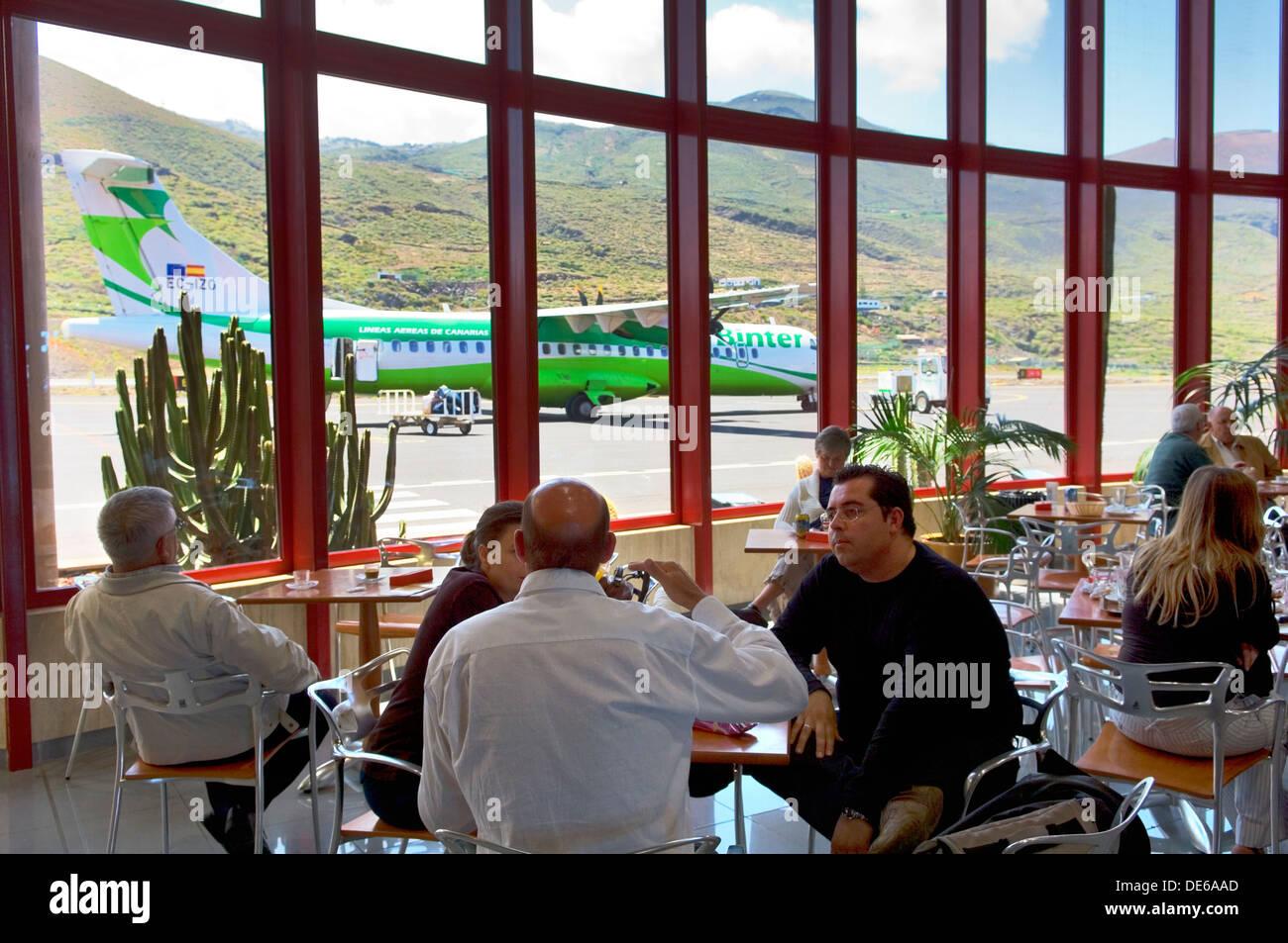Aeropuerto de Los Cangrejos, El Hierro, Canary Islands, Spain. Airplane of Binter Canarias, the Canaries airline, Stock Photo