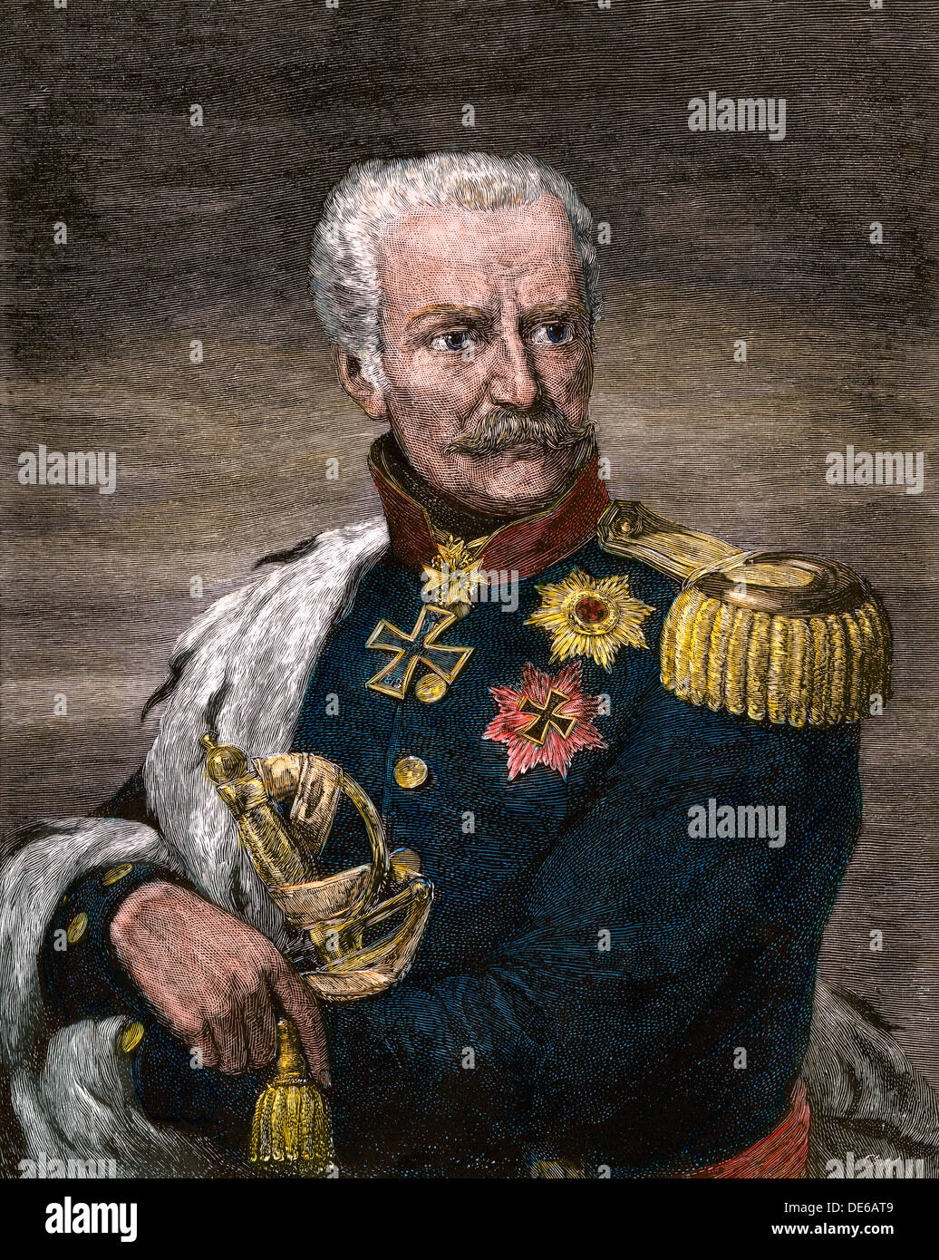 Field Marshal Gebhard Leberecht von Blucher, Prussian commander at Waterloo. Hand-colored woodcut - Stock Image