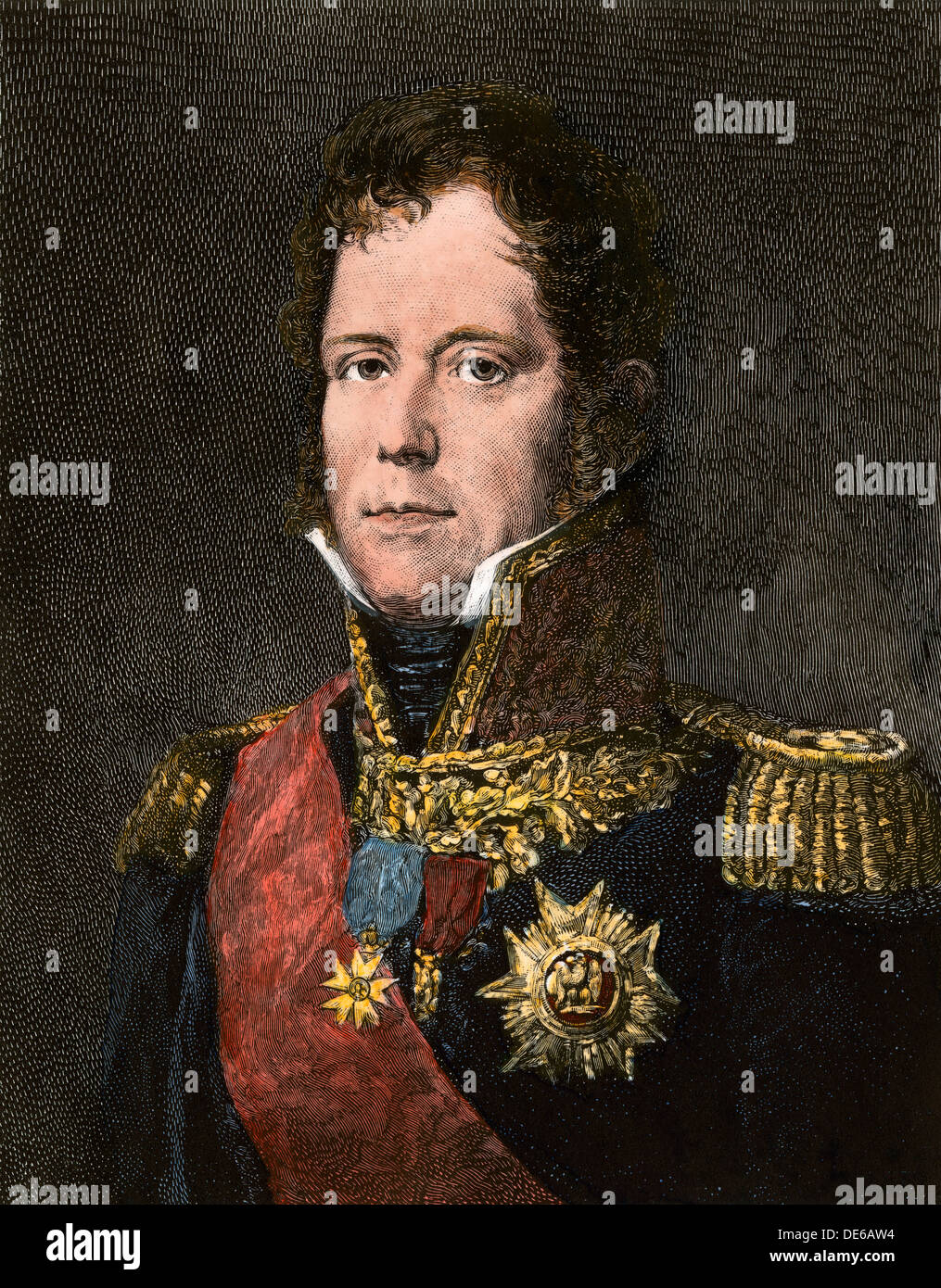 Marshal Michel Ney, commander of Napoleon's Old Guard at Waterloo. Hand-colored woodcut - Stock Image