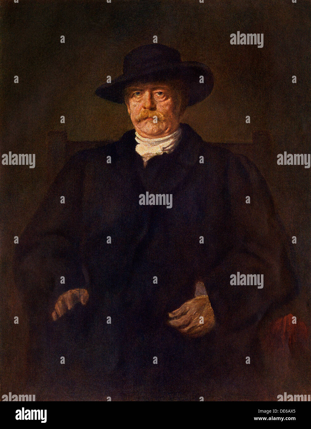 Prussian statesman Otto von Bismarck. Color lithograph of a painting by Franz von Lenbach - Stock Image