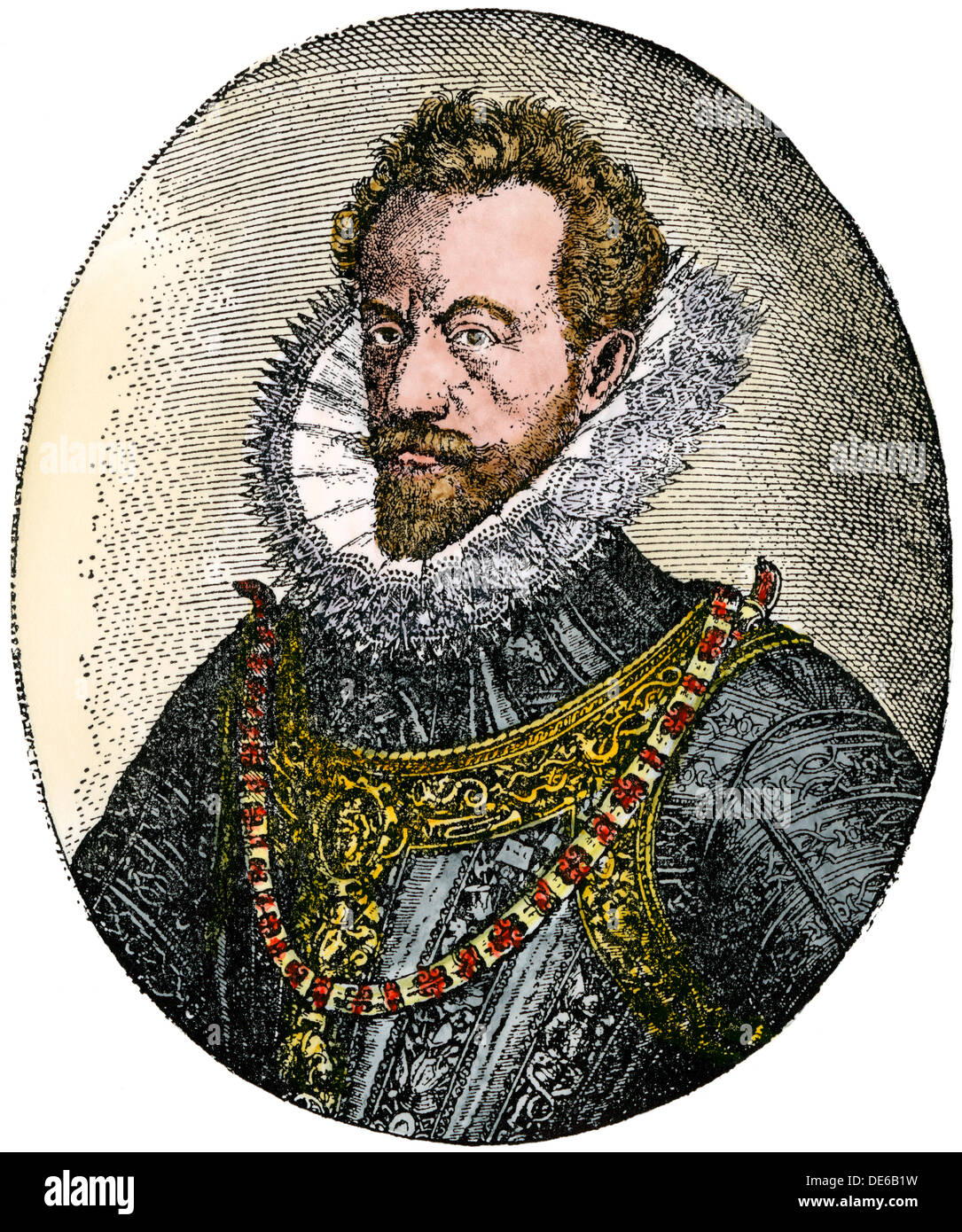 Alexander Farnese, Duke of Parma, Spanish governor-general of the Netherlands. Hand-colored woodcut - Stock Image