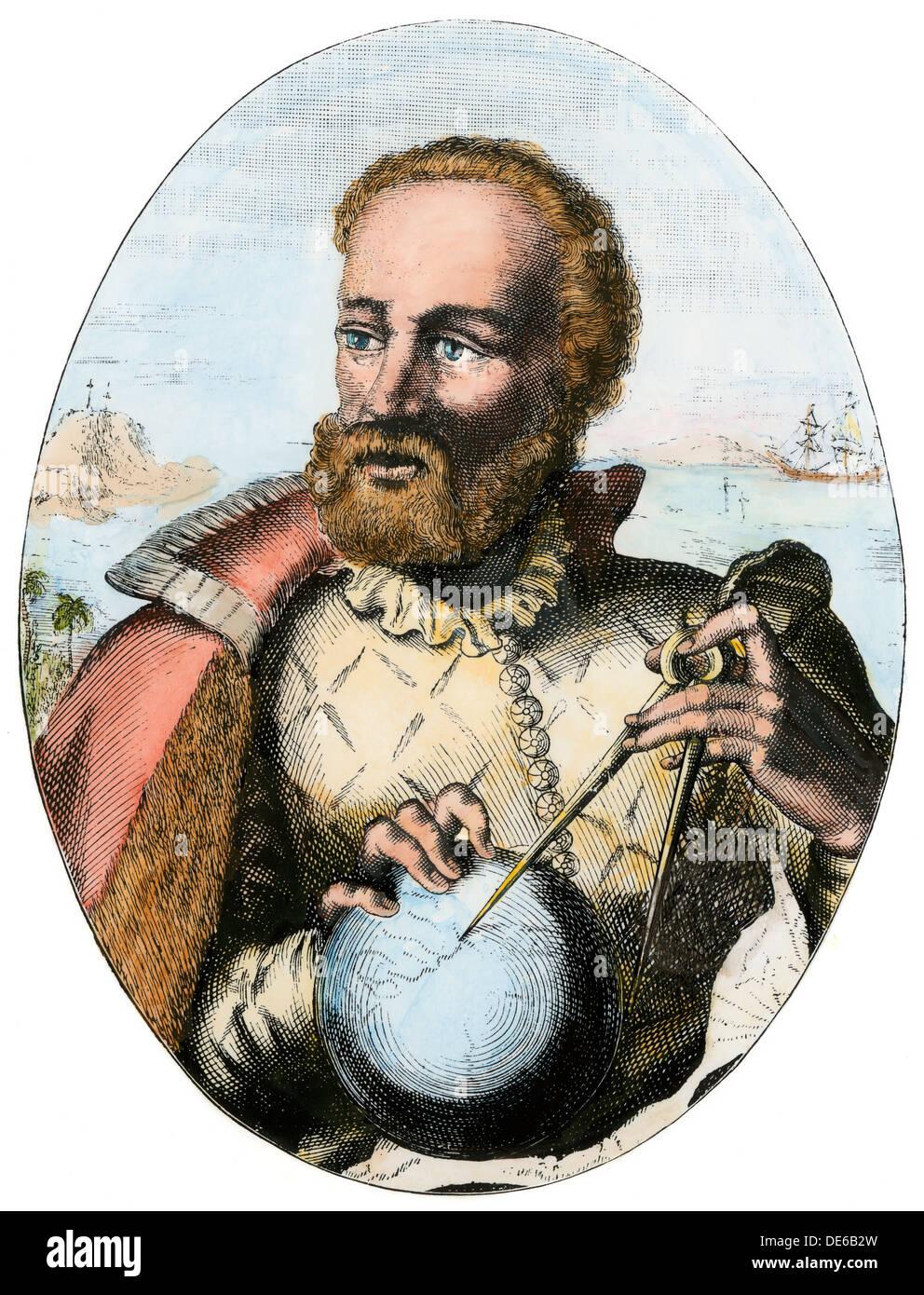 Portuguese explorer Ferdinand Magellan holding navigation instruments. Hand-colored woodcut - Stock Image