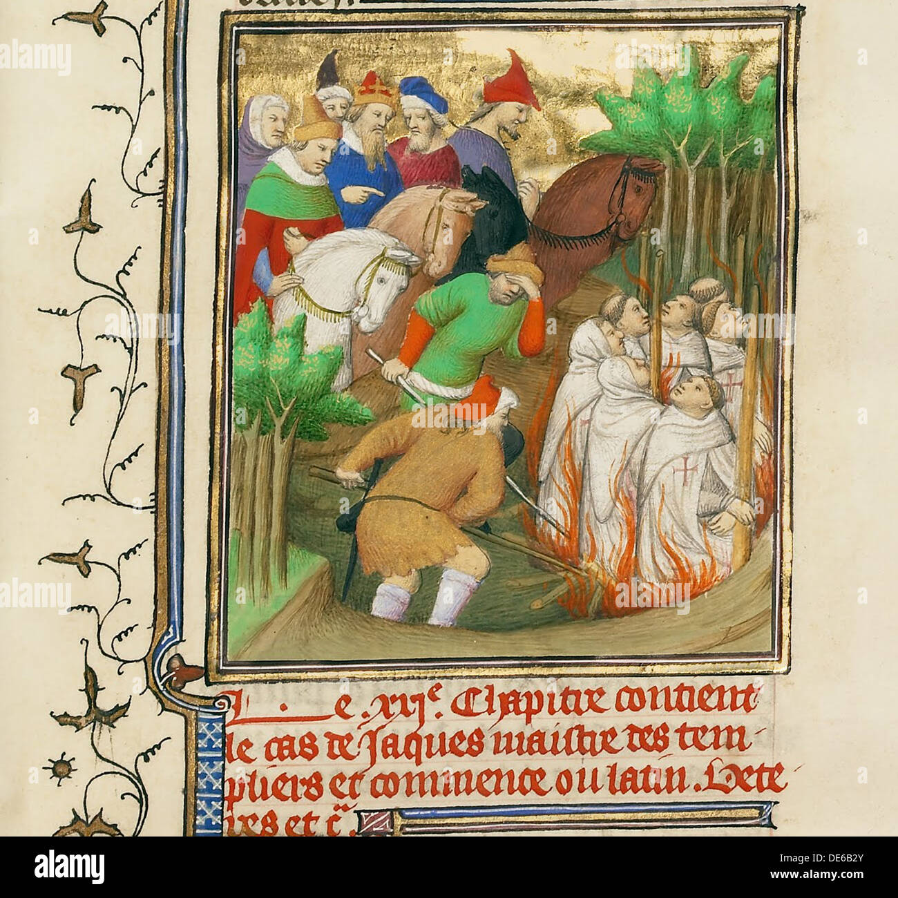The Knights Templar Burned in the Presence of Philip the Fair and His Courtiers, ca 1413-1415. Artist: Boucicaut Master, (Master - Stock Image