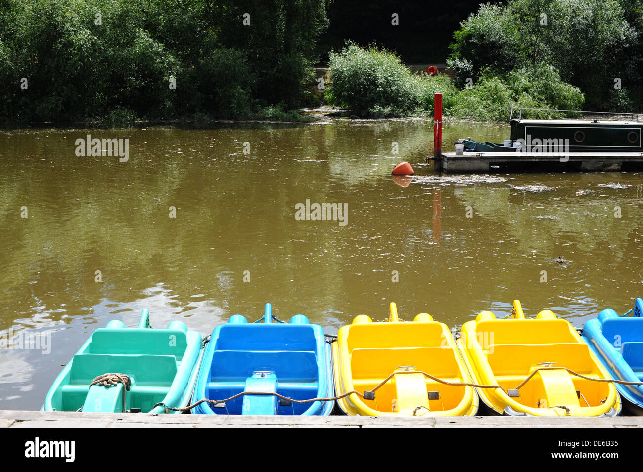 Pedals boats for hire on the River Dee, Chester. Stock Photo