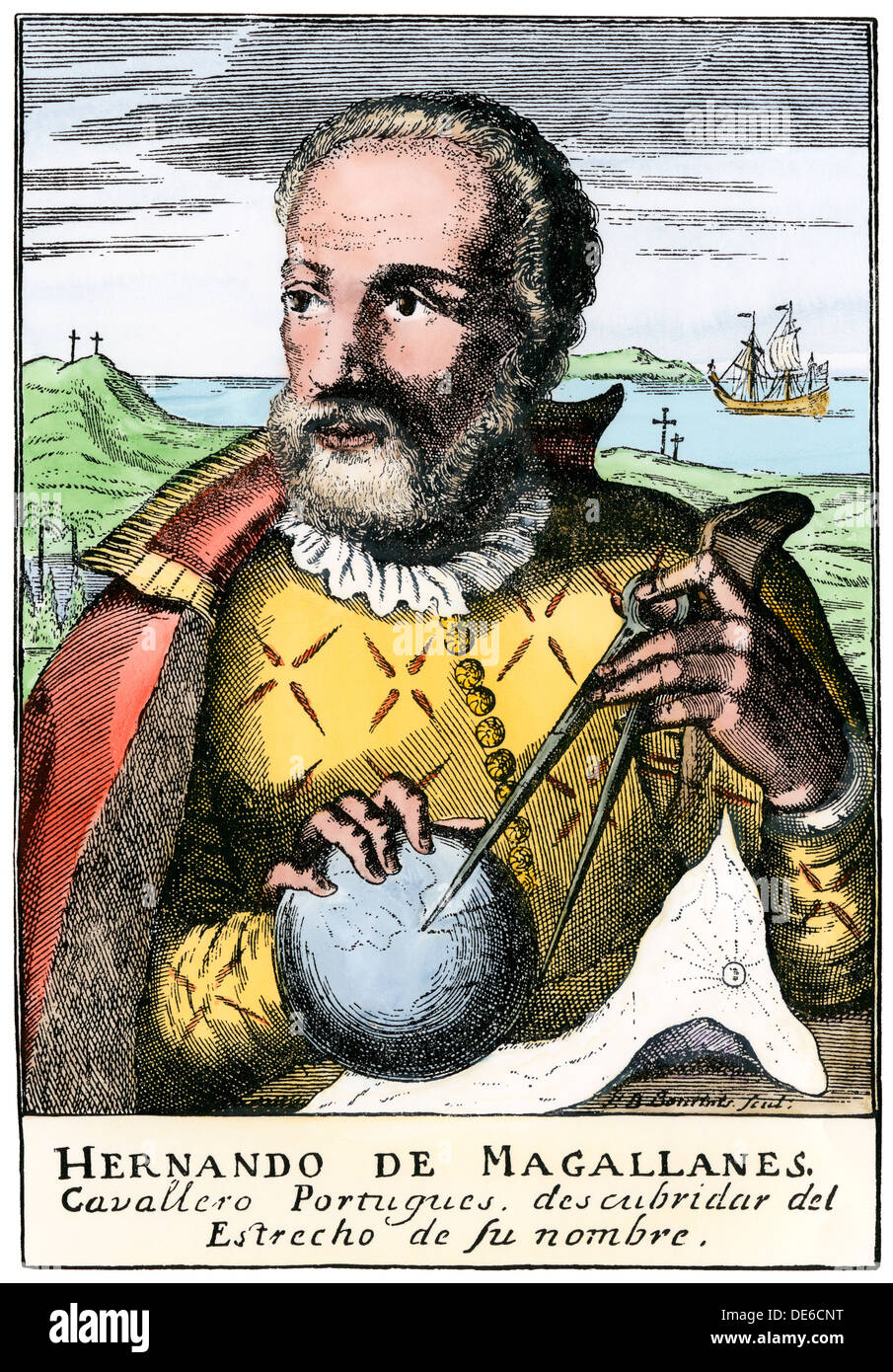 Magellan holding calipers, from engraving in Hererra. Hand-colored woodcut - Stock Image