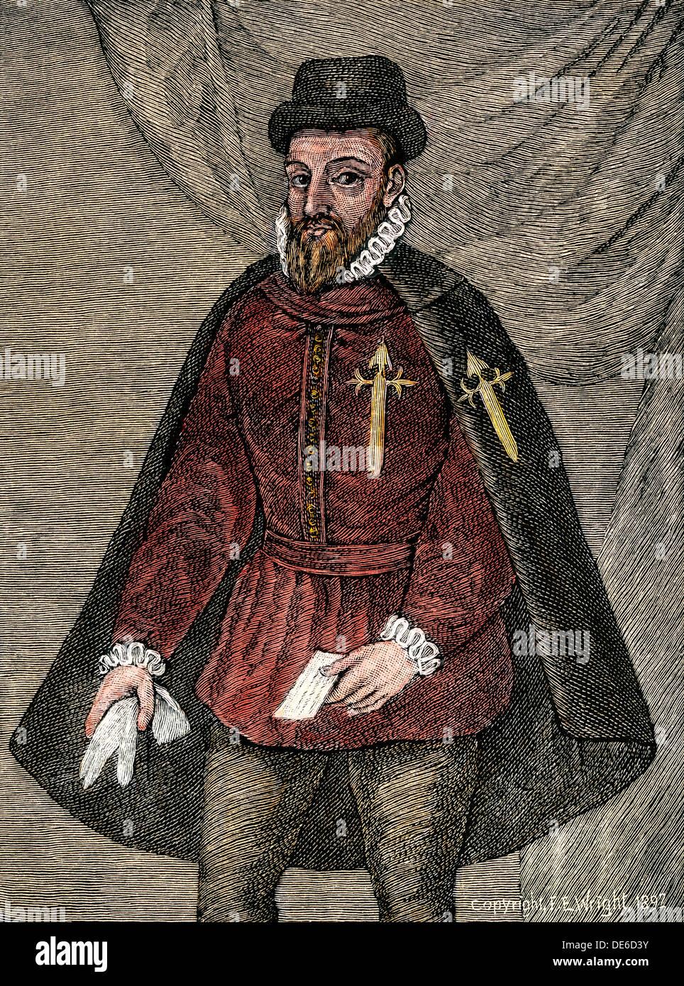 Francisco Pizarro, conqueror of Peru, standing. Hand-colored woodcut - Stock Image