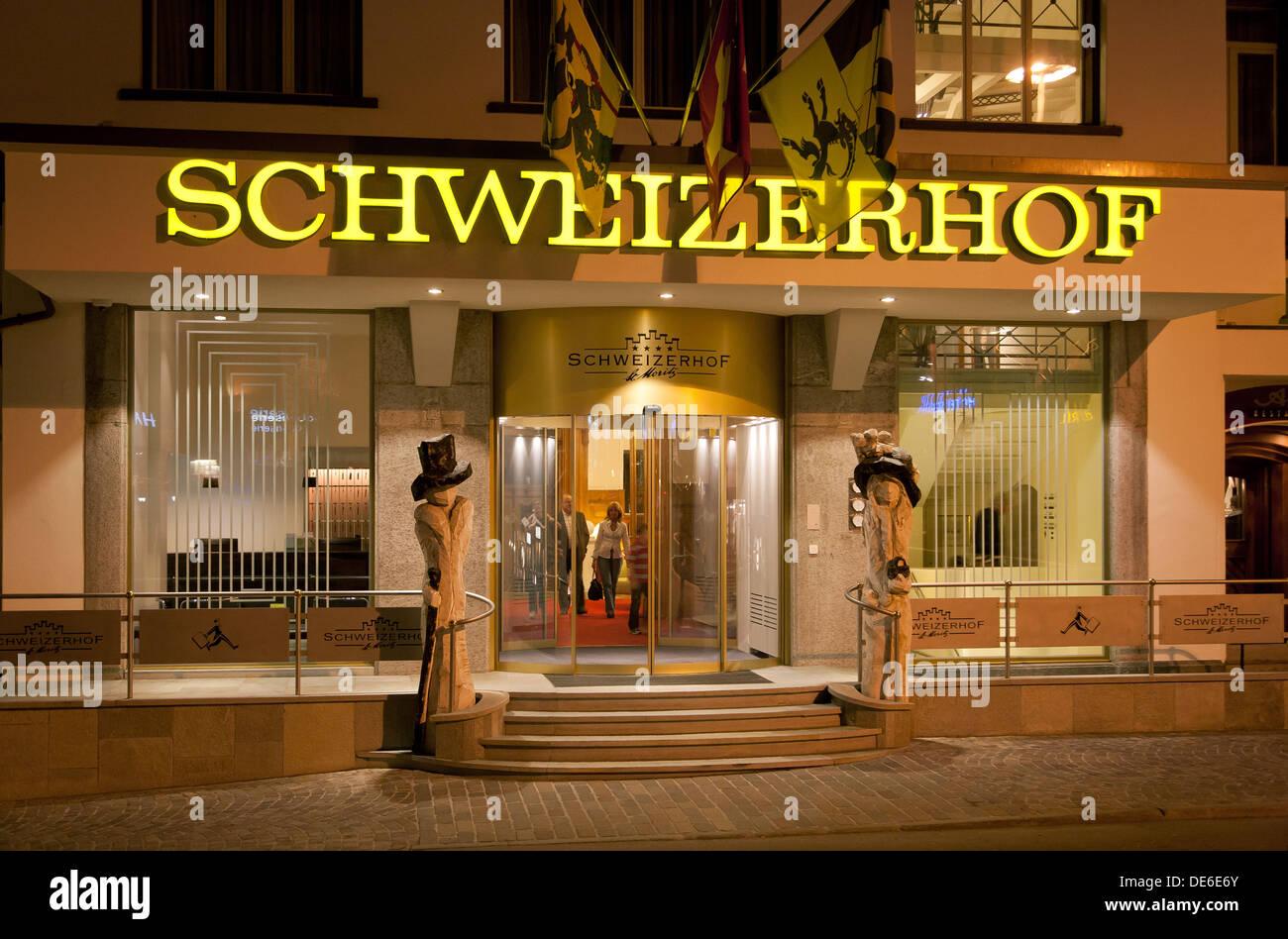 St. Moritz, Switzerland, the Hotel Schweizerhof Plazza da la Posta Veglia - Stock Image
