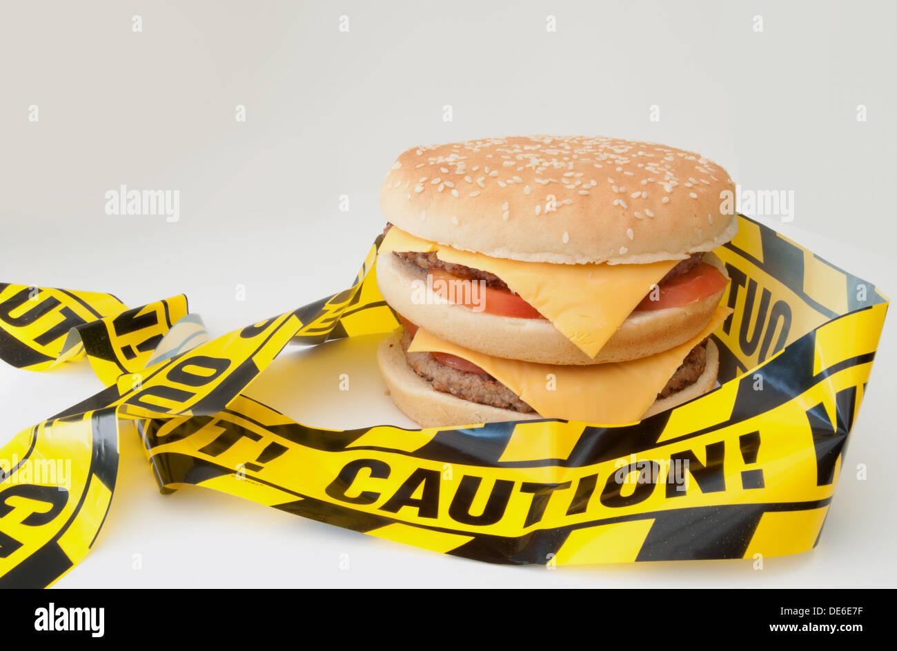 Unhealthy food warning - Stock Image