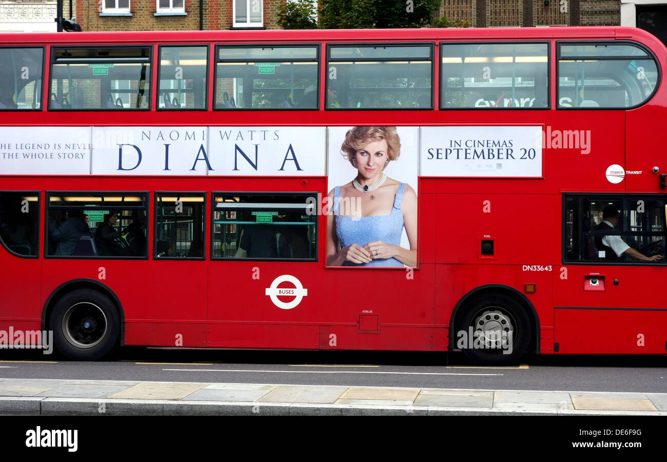 London, UK. 12th Sept 2013. Advertising for new movie 'Diana' which opens next week has started in London. This giant poster dominates from the side of an iconic red double-decker bus. The biopic, starring Naomi Watts as the doomed royal, had its West End premiere a week ago and will soon be on general release. Credit:  Jeffrey Blackler/Alamy Live News - Stock Image