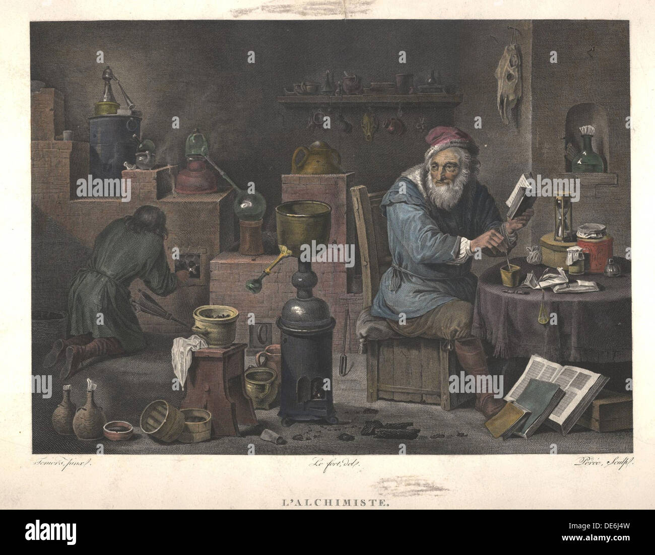 The Alchemist (after painting by David Teniers), Late 18th cent.. Artist: Perée, Jacques Louis (1769-1832) - Stock Image
