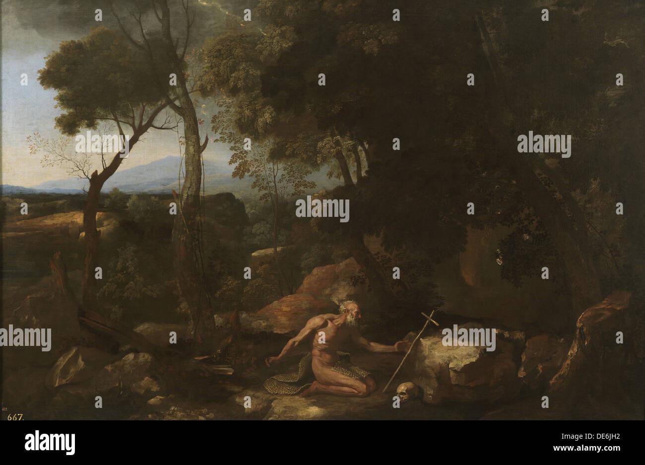 Landscape with Saint Paul the Hermit, 1638. Artist: Poussin, Nicolas (1594-1665) - Stock Image