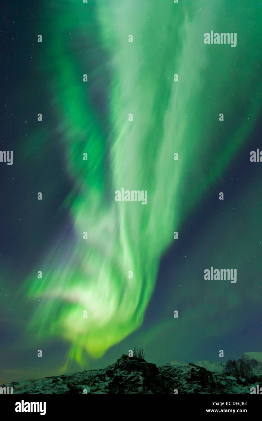 Northern Lights / Aurora borealis, spectacular weather phenomenon showing natural light display in the sky at night, Scandinavia - Stock Image