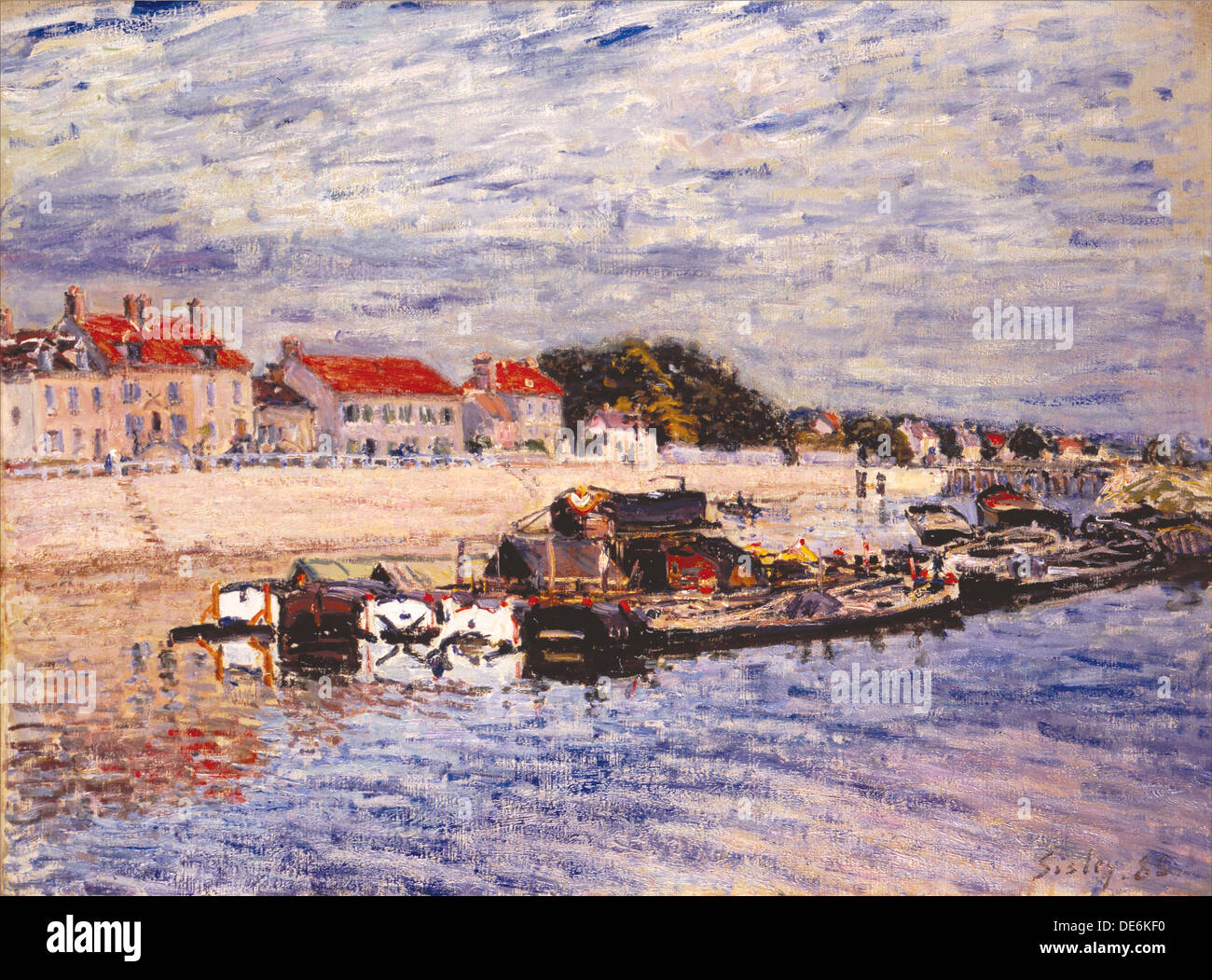 Barges on the Loing at Saint-Mammès, 1885. Artist: Sisley, Alfred (1839-1899) - Stock Image
