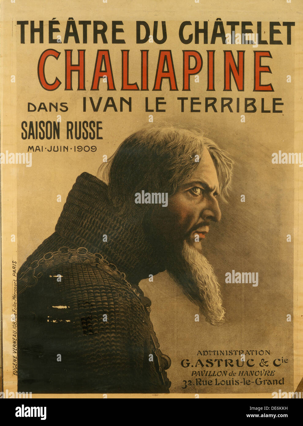 Poster for the Saison Russe at the Théâtre du Châtelet, 1909. Artist: Verneau, Eugene (active Early 20th-century) - Stock Image