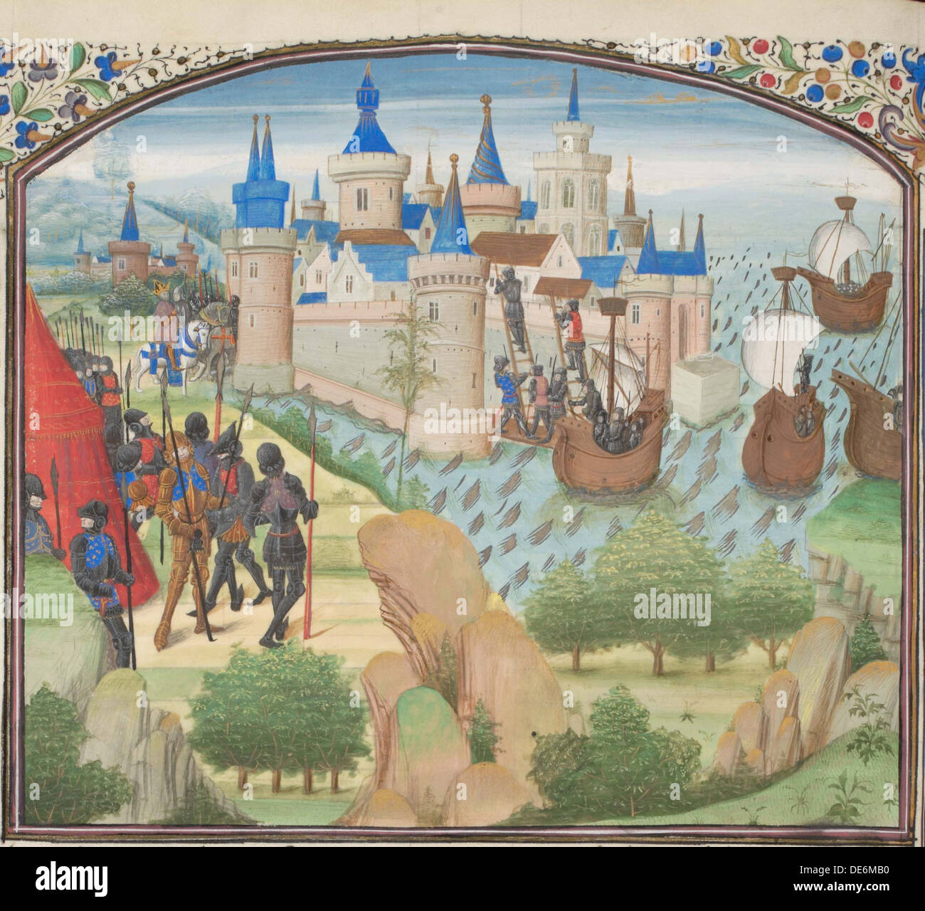 The capture of Constantinople by land and sea in 1204. Miniature from the  Historia by William of Tyre, 1460s. Artist: Anonymous