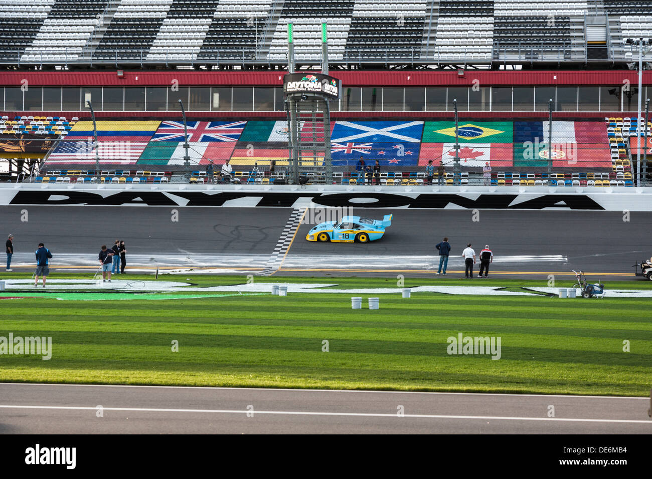 Preparation of track for racing at Daytona International Speedway during the 2012 Rolex 24 at Daytona, Florida - Stock Image