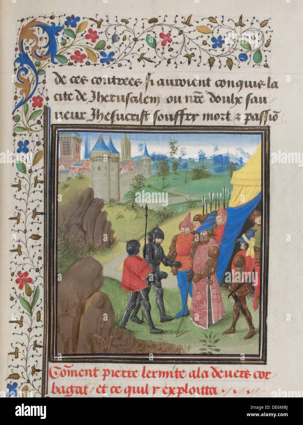 The Embassy of Peter the Hermit and Herluin to Kerbogha. Miniature from the Historia by William of Tyre, 1460s. Artist: Anonymou - Stock Image
