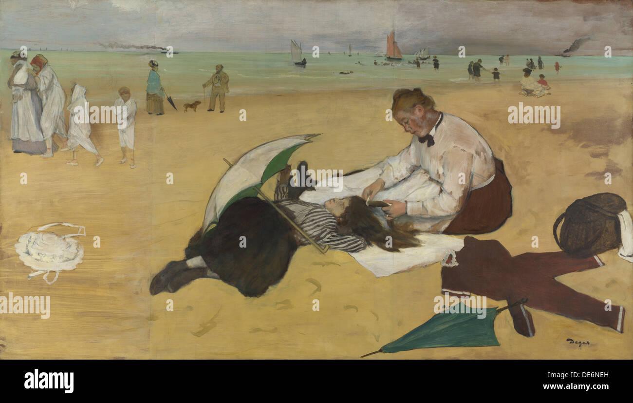 Beach Scene, c. 1869. Artist: Degas, Edgar (1834-1917) - Stock Image