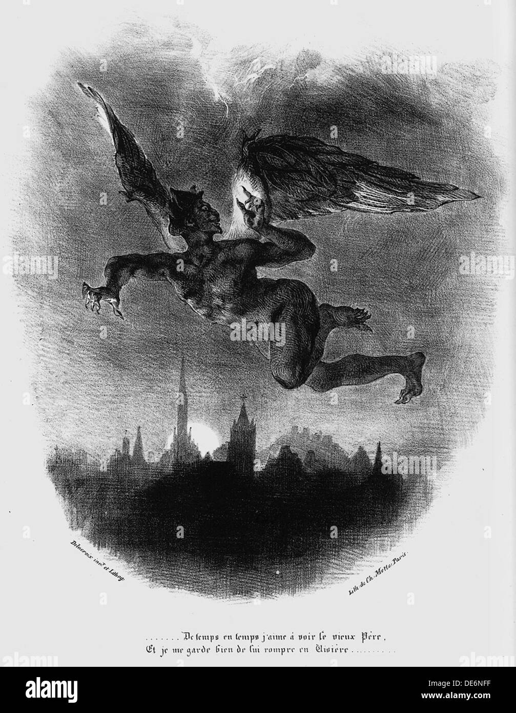 Mephistopheles Prologue in The Sky. Illustration to Goethe's Faust, 1828. Artist: Delacroix, Eugène (1798-1863) - Stock Image