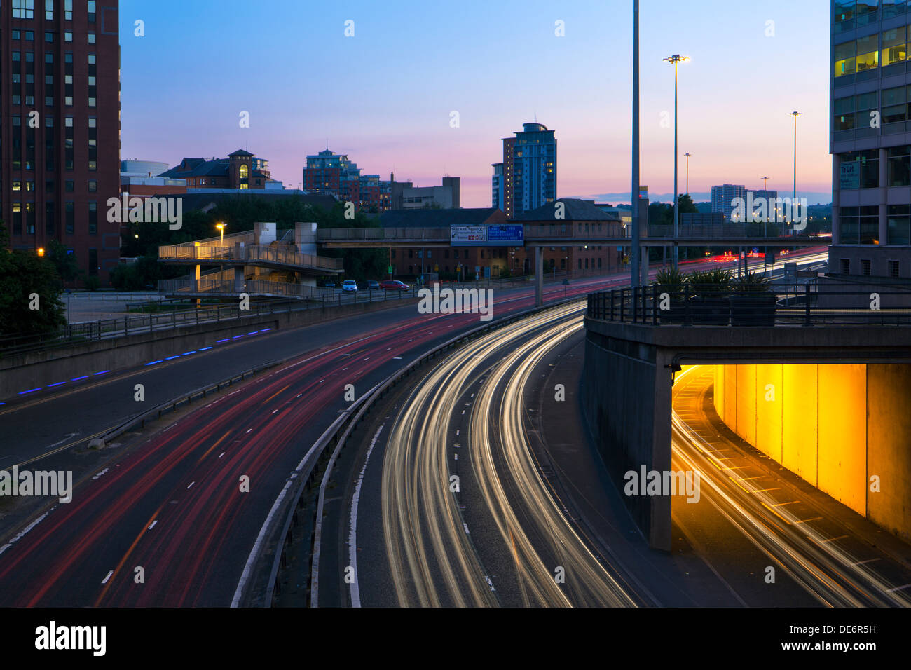 Traffic light trails on the A58 through Leeds, West Yorkshire at Night - Stock Image