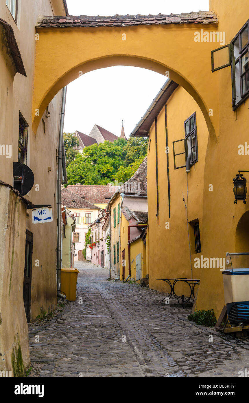 Street view of Sighisoara,Transylvania, Romania - Stock Image