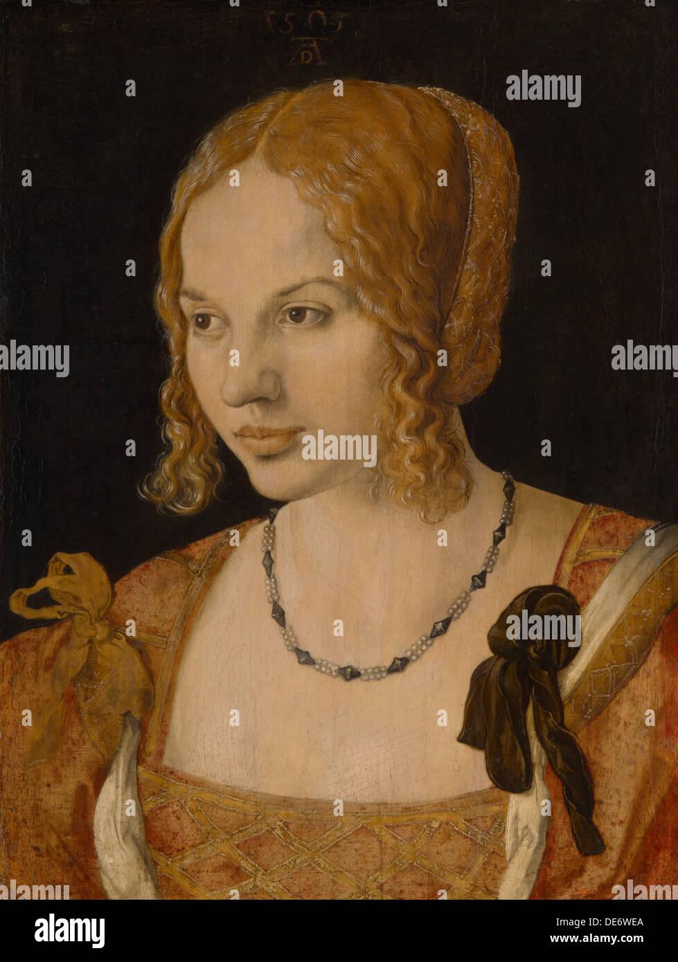 Portrait of a Young Venetian Woman, 1505. Artist: Dürer, Albrecht (1471-1528) Stock Photo