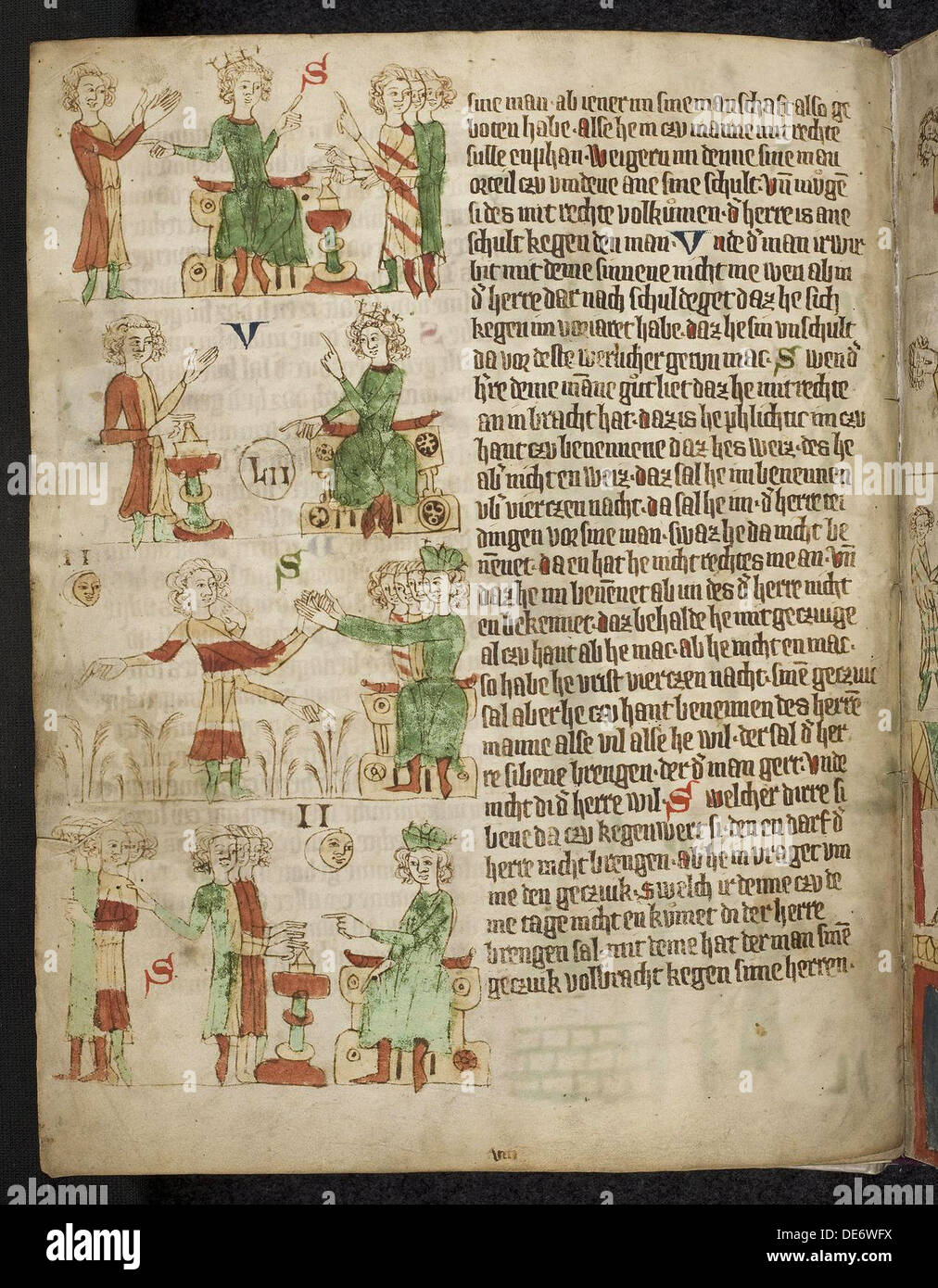 Feudal Law. Fom the Heidelberg Sachsenspiegel, 14th century. Artist: Eike von Repgow (1180/90-after 1233) - Stock Image