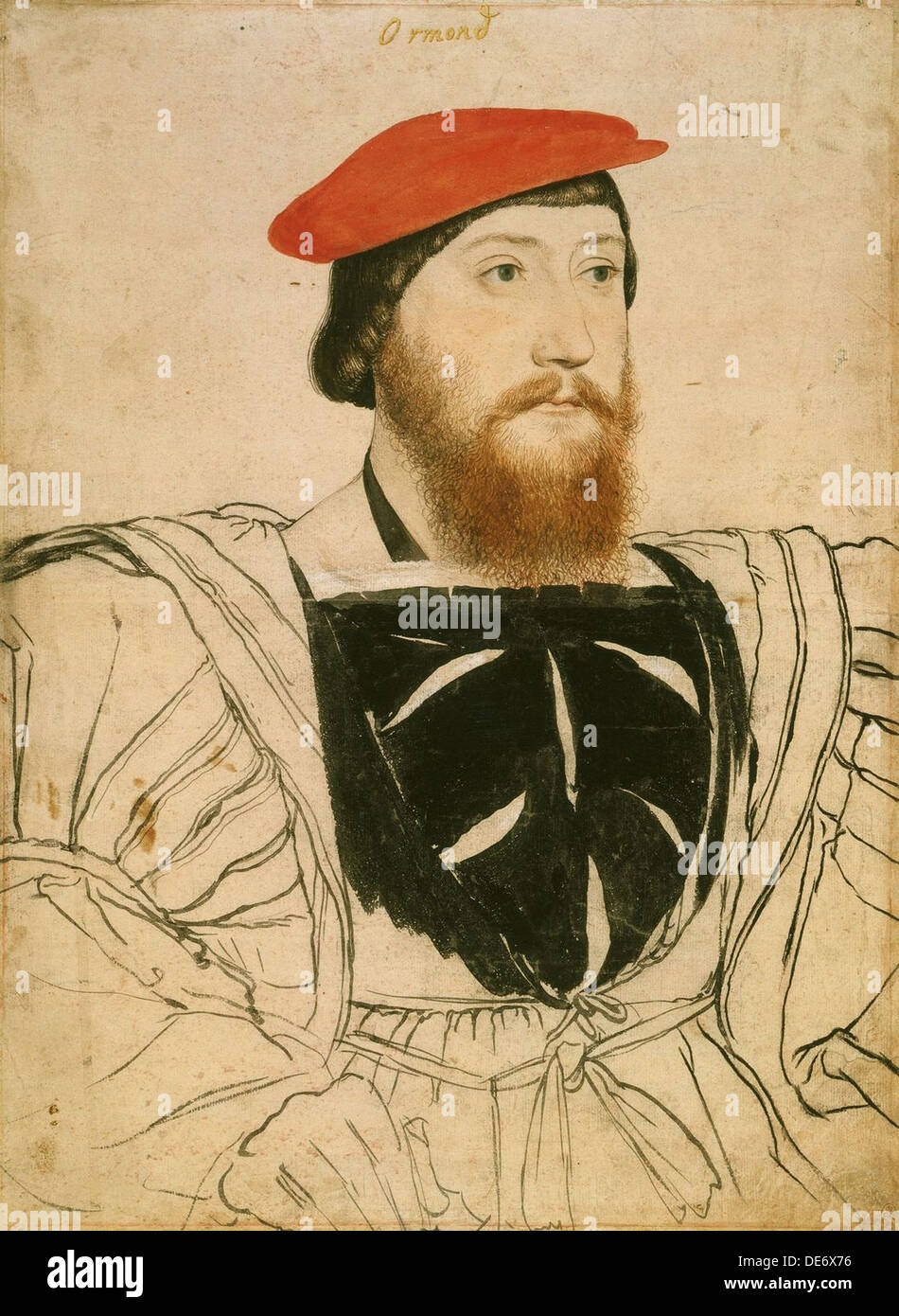 Portrait of James Butler, 9th Earl of Ormond, ca 1537. Artist: Holbein, Hans, the Younger (1497-1543) - Stock Image