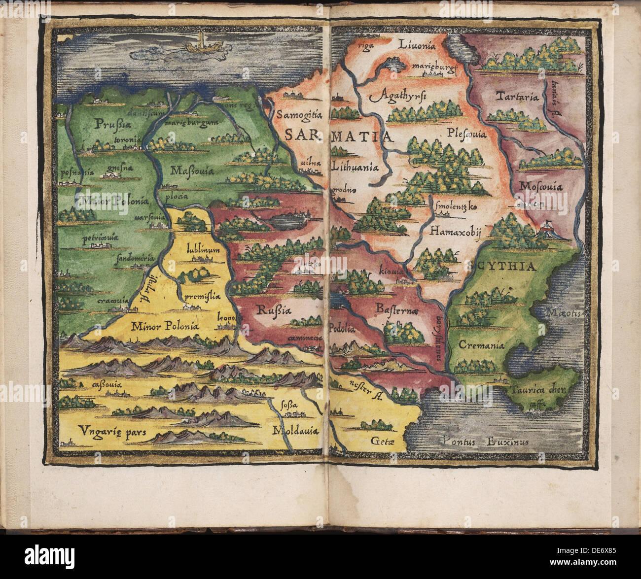 Map of Sarmatia (From: Rudimenta Cosmographica), 1542. Artist: Honterus (Honter), Johannes (1498-1549) - Stock Image