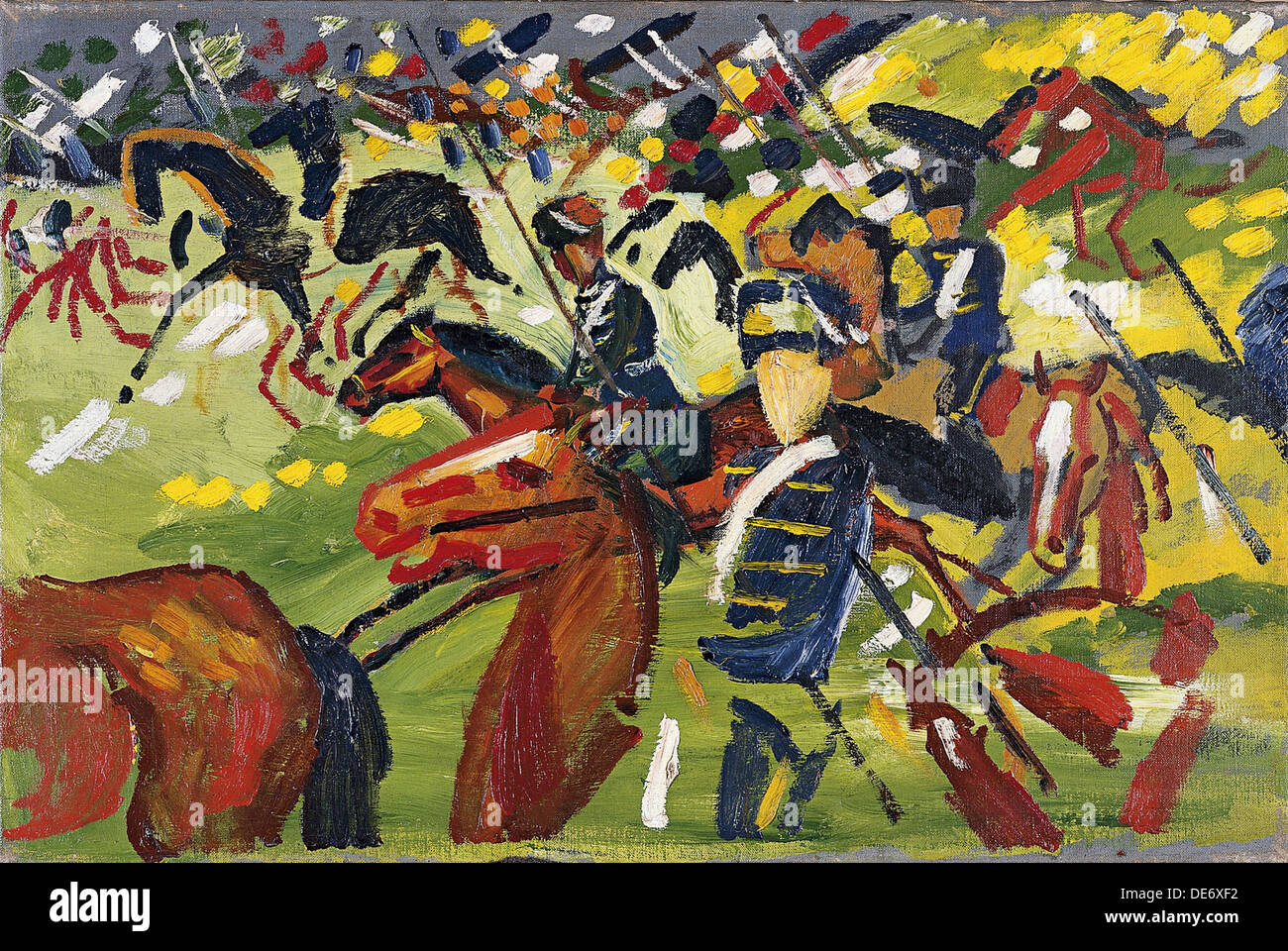 Hussars on a Sortie, 1913. Artist: Macke, August (1887-1914) - Stock Image